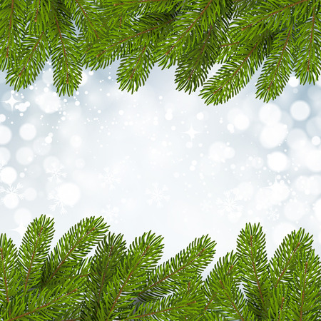 spruce: Christmas background with snow and fir tree branches