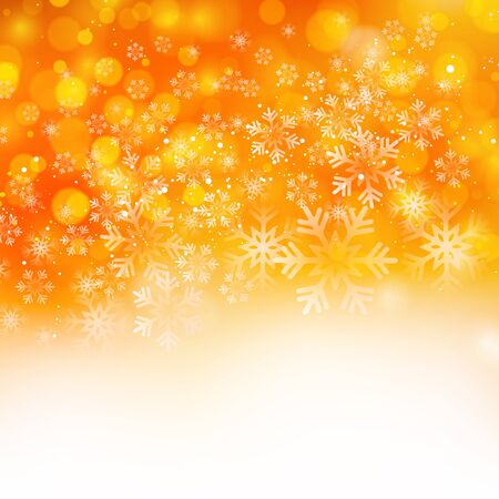 background orange: Vector illustration. Abstract Christmas snowflakes background. Orange color