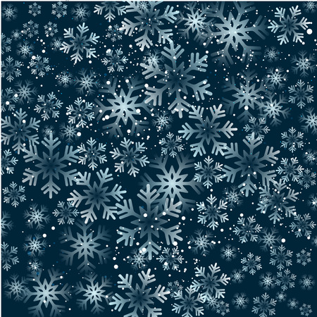 Vector illustration. Abstract Christmas snowflakes background. Blue color
