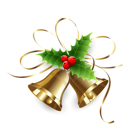 red ribbon bow: Christmas Holly Berry and gold bells. Vector illustration Illustration