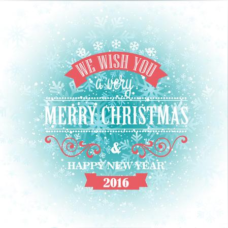gift ribbon: Typographic Retro Christmas Design on the winter snowflakes background