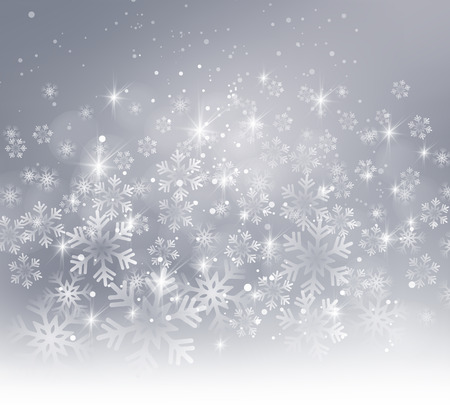 Vector illustration. Abstract Christmas snowflakes background. Gray color  イラスト・ベクター素材