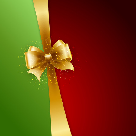 gold bow: Christmas Background. Vector Design. Gold bow in red and green background