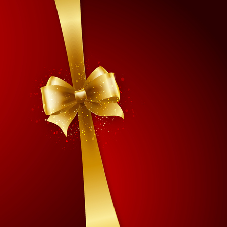 gold bow: Christmas Background. Vector Design. Gold bow in red background