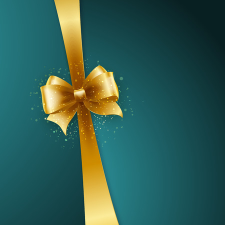 gift card: Christmas Background. Vector Design. Gold bow in blue background