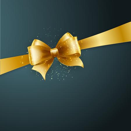 lazo regalo: Antecedentes de la Navidad. Diseño del vector. Arco de oro en fondo gris