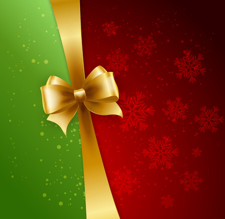 gold christmas background: Christmas Background. Vector Design. Gold bow in red and green background