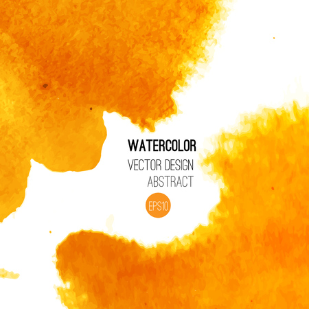 orange texture: Abstract watercolor background. Orange Hand drawn watercolor backdrop, texture, stain watercolors on wet paper. Vector illustration