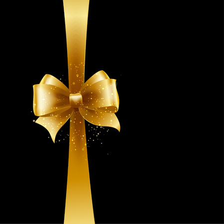 wraps: Antecedentes de la Navidad. Diseño del vector. Arco de oro aislado en el fondo negro