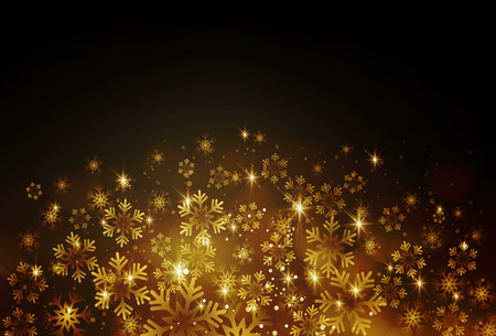 postcard background: Golden snowflake on a dark background. Vector illustration