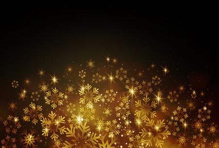 Golden snowflake on a dark background. Vector illustration