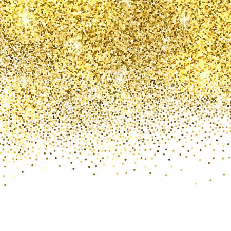 glitter background: Gold sparkles on white background. Gold glitter background. Illustration