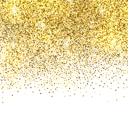 Gold sparkles on white background. Gold glitter background. Stock Illustratie