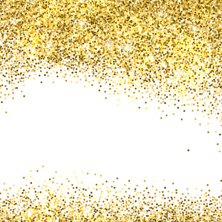 Gold sparkles on white background. Gold glitter background. Illustration