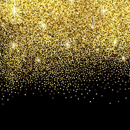 Gold sparkles on black background. Gold glitter background. Vettoriali