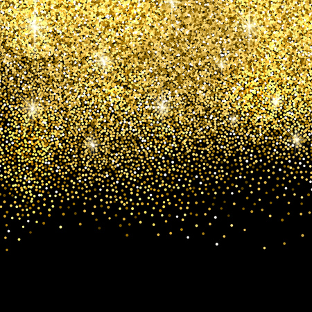 Gold sparkles on black background. Gold glitter background. Illustration