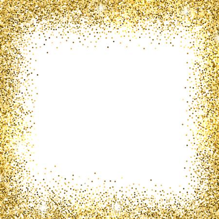 Gold sparkles on white background. Gold glitter background. Vettoriali