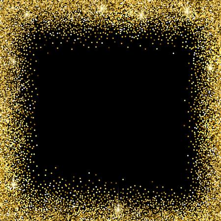Gold sparkles on black background. Gold glitter background. Ilustração