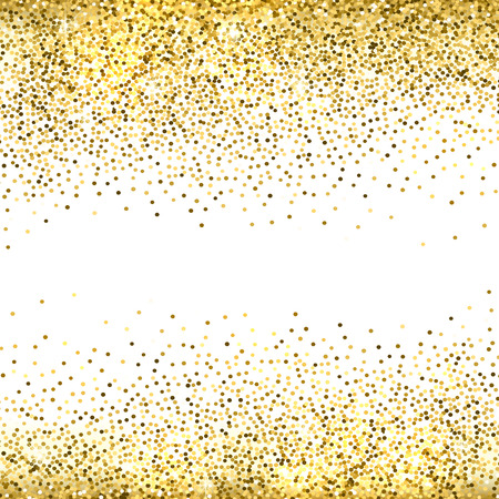 Gold sparkles on white background. Gold glitter background. Ilustração