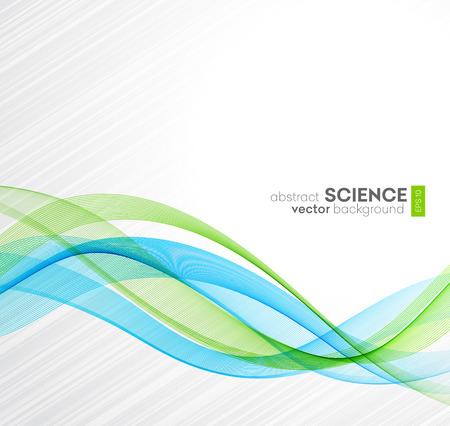 Fond abstrait vectoriel, lignes ondulées bleues et vertes pour brochure, site Web, conception de flyer. illustration