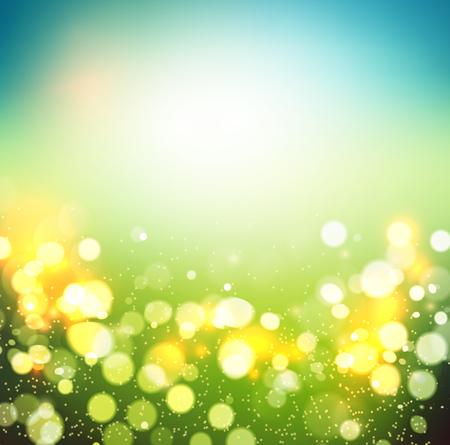 primavera: Resumen de la primavera de fondo desenfocado. bokeh verde. Verano pradera borrosa. ilustración Vectores
