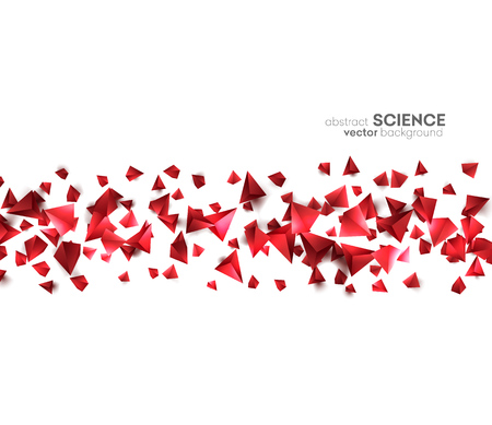 Abstract 3d chaotic particles. Red Sci-fi pyramids. Abstract form  Low poly background.