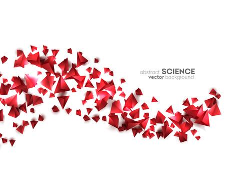 triangulo: Partículas caóticas 3d abstractos. Pirámides Roja ciencia ficción. Forma abstracta fondo bajo poli. Vectores