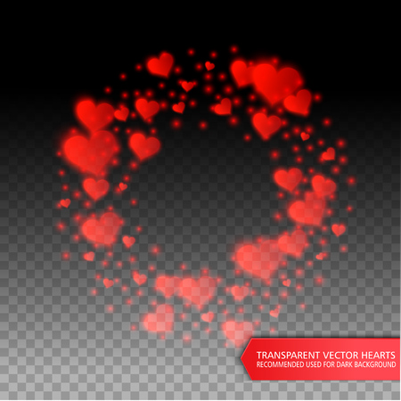 heart background: Vector confetti falling from red hearts on the transparent background. Love concept card background for Valentines day
