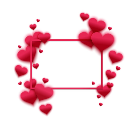 st valentin's day: Vector confetti falling from pink blurred  hearts on the white background. Love concept card background for Valentines day Illustration
