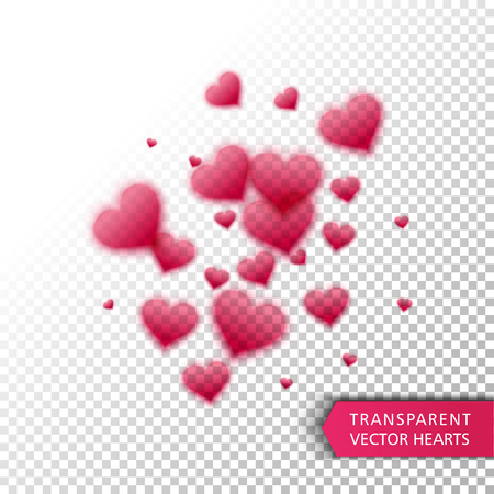 st valentin's day: Vector confetti falling from red hearts on the transparent background. Love concept card background for Valentines day