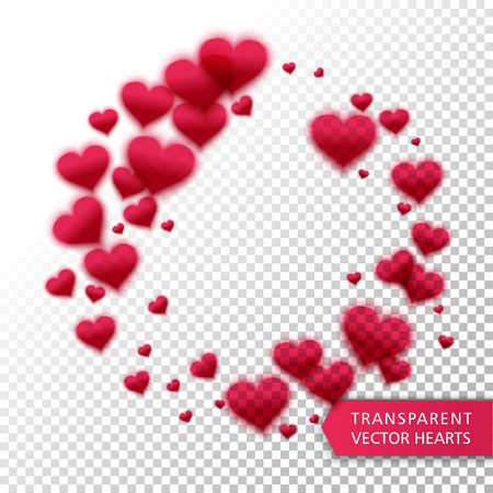 hearts background: Vector confetti falling from red hearts on the transparent background. Love concept card background for Valentines day