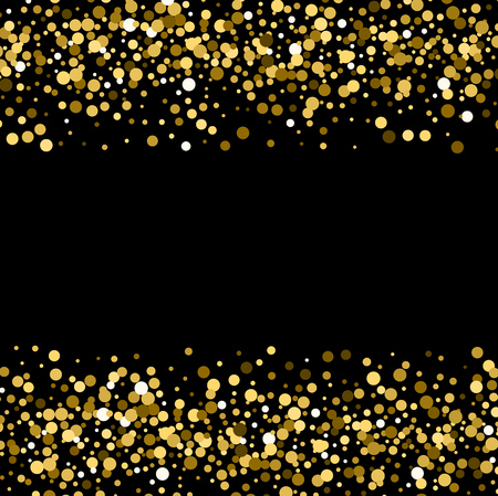 Gold sparkles on black background. Gold glitter background. Vettoriali
