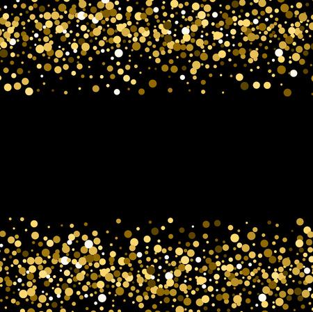 Gold sparkles on black background. Gold glitter background. Illustration