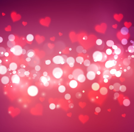 s day: Vector confetti falling from blurred hearts and bokeh. Love concept card background for Valentines day