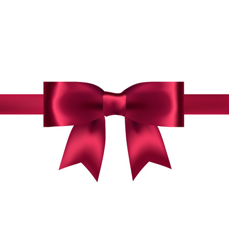 satin: Shiny red satin ribbon on white background. Vector