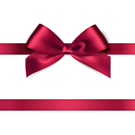 red ribbon bow: Shiny red satin ribbon on white background. Vector
