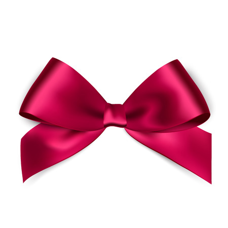 pink satin: Shiny pink satin ribbon on white background. Vector Illustration