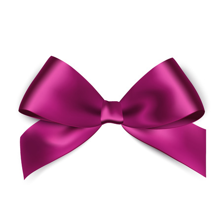 violet: Shiny purple satin ribbon on white background. Vector