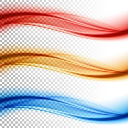 Resumen suave vector de onda de color fijó en el fondo transparente. Curva ilustración movimiento flujo