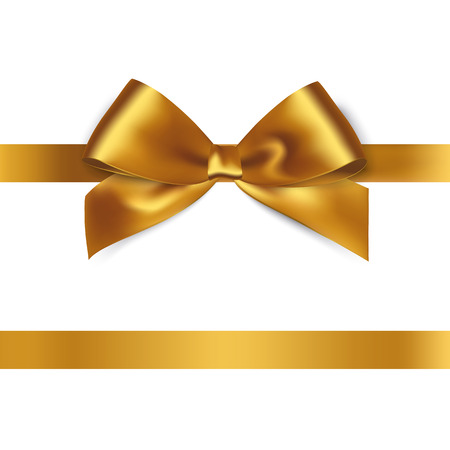 Shiny gold satin ribbon on white background. Vector