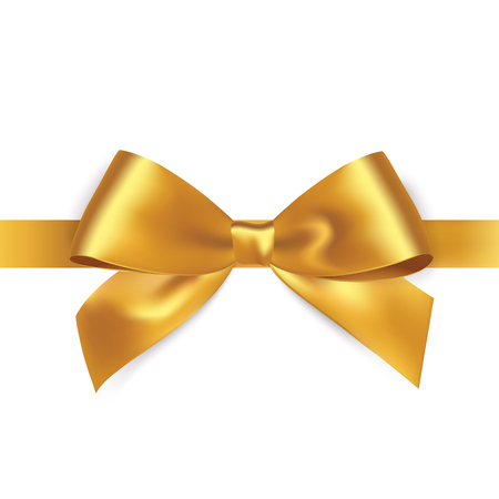 白い背景に、ピカピカのゴールドのサテンリボン。ベクトル