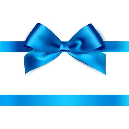 光沢のある白い背景の青いサテンのリボン。ベクトル