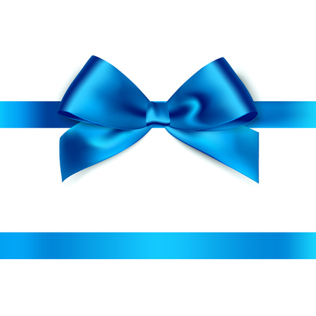 Shiny blue satin ribbon on white background. Vector