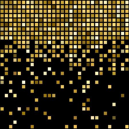 square shape: Vector illustration golden mosaic background. Square shape