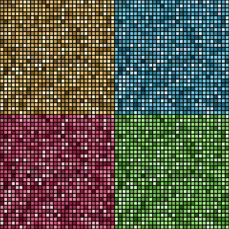 square shape: Set of Vector illustration shiny color mosaic background. Square shape