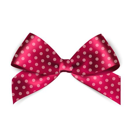 white ribbon: Shiny pink satin ribbon with polka dots on white background. Vector