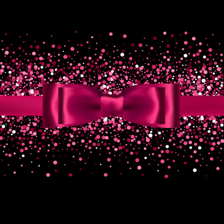 silk bow: Pink glitter background with silk bow and ribbon