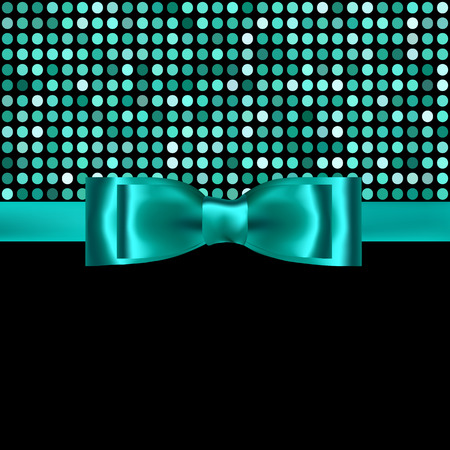 silk bow: Blue sparcle mosaic background with silk bow and ribbon