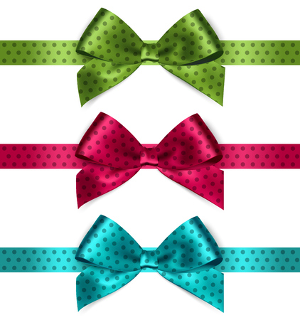 wedding frame: Set of Shiny satin ribbon with polka dots on white background. Red, green, blue color. Vector