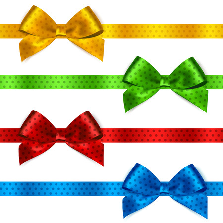 Set of Shiny satin ribbon with polka dots on white background. Red, green, blue and yellow color. Vector